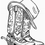 Cowboy Boots and Hat Image