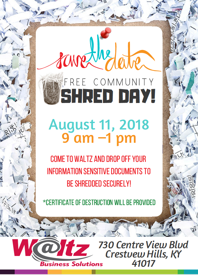 Save the Date Free Community Shred Day