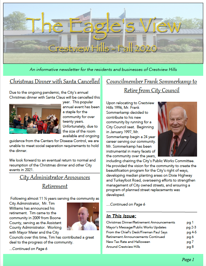 Front cover fall newsletter 2020
